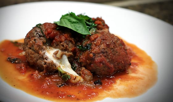 Mozzarella stuffed elk meatballs & red wine tomato sauce | Nevada Foodies Wild Game Recipes featuring Elk, Venison, Chukar, Duck, Goose and more