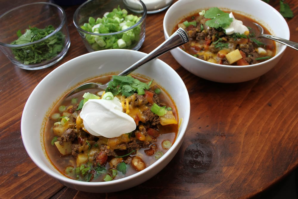 Elk Chili with Sweet Potatoes and Hominy